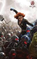 """THE AVENGERS: AGE OF ULTRON"" al estilo concept art.  BLACK WIDOW, enfrentándose a los robots de ULTRON,  Artista Ryan Meinerdi..."