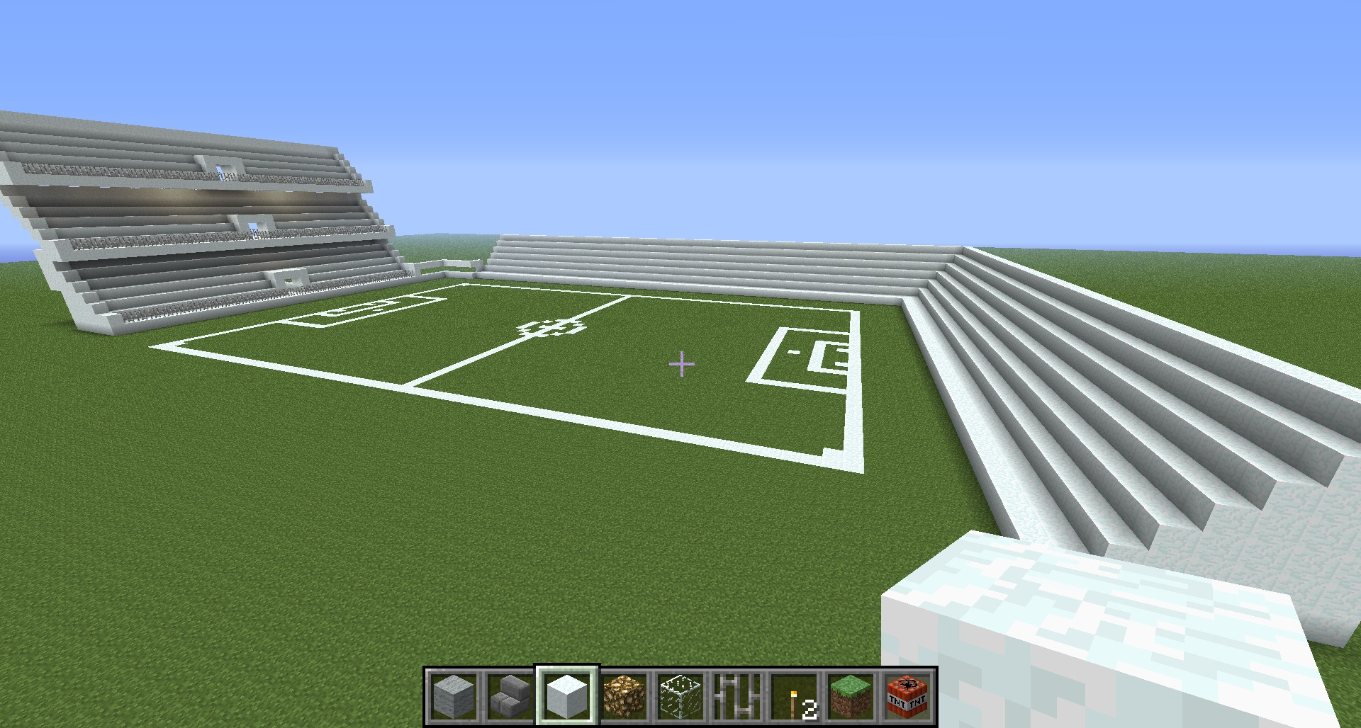 Estadio fútbol en minecraft