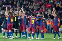 Barcelona FC Celebrando su paso a semifinales de la Uefa Champions League, Tras derrotar por 7 goles al Bayern Mnich.